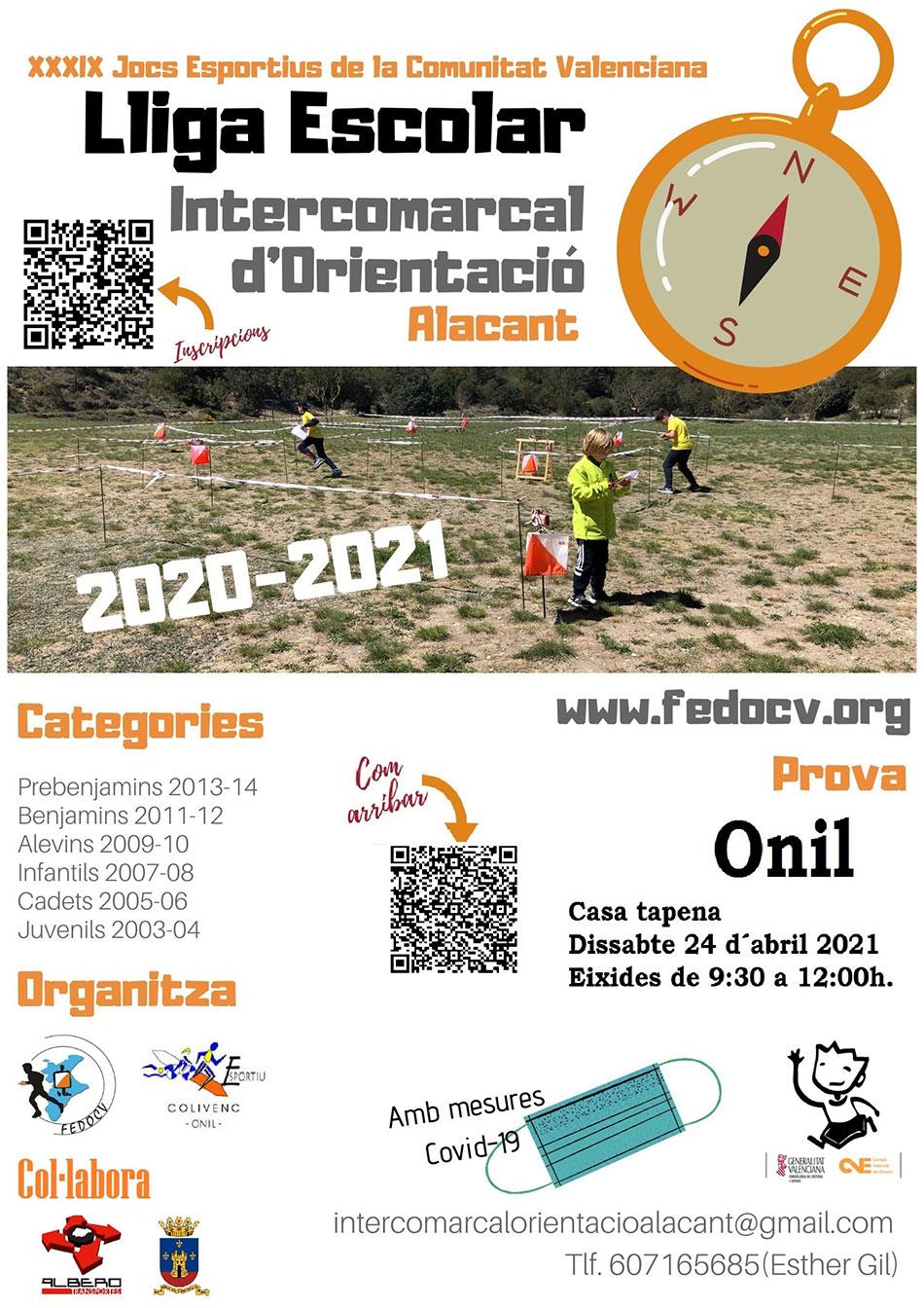 3ª prueba Liga Escolar Intercomarcal de Orientación de Alicante 2020/2021: Onil