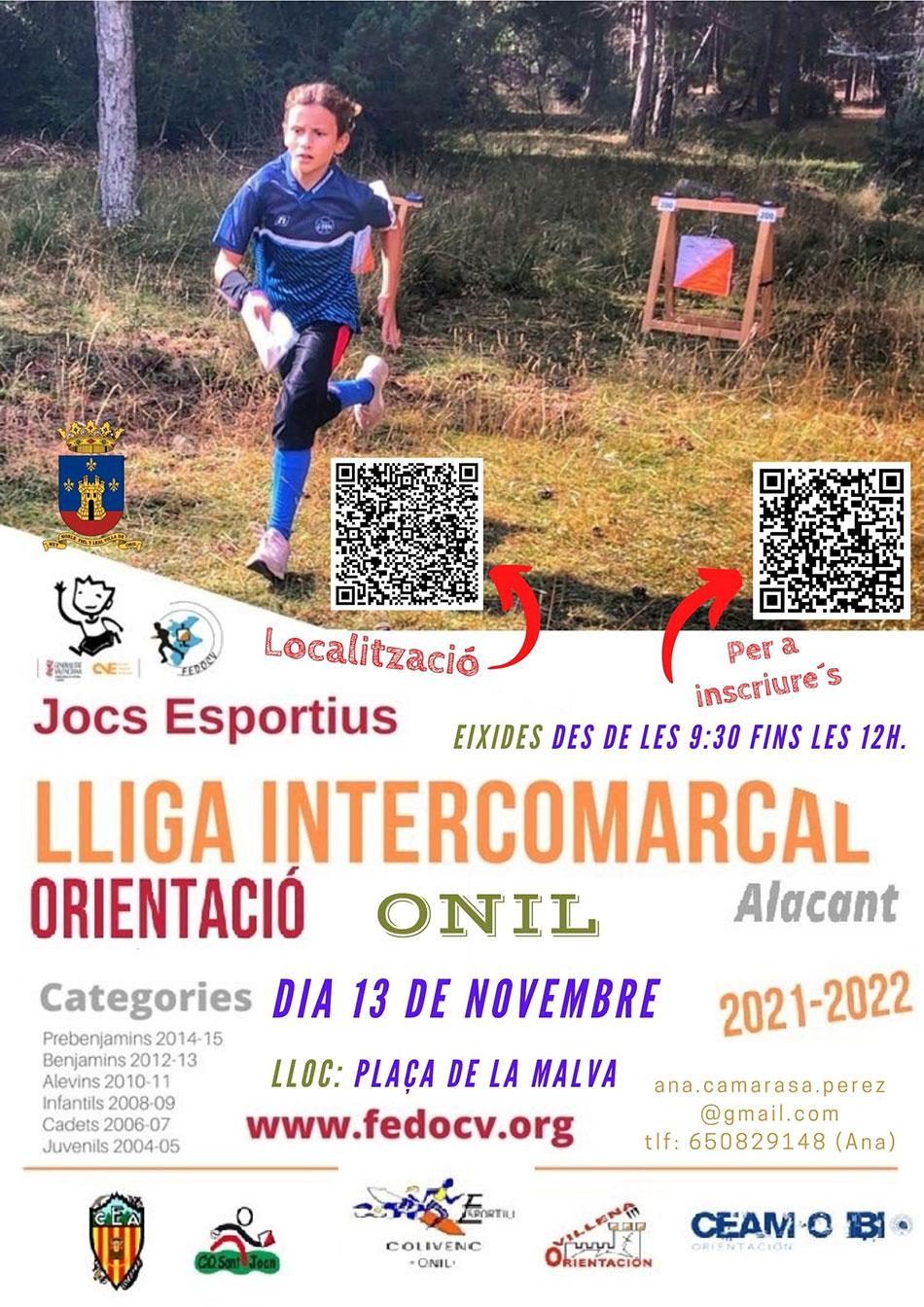 1ª prueba Liga Escolar Intercomarcal de Orientación de Alicante 2021/2022: Onil